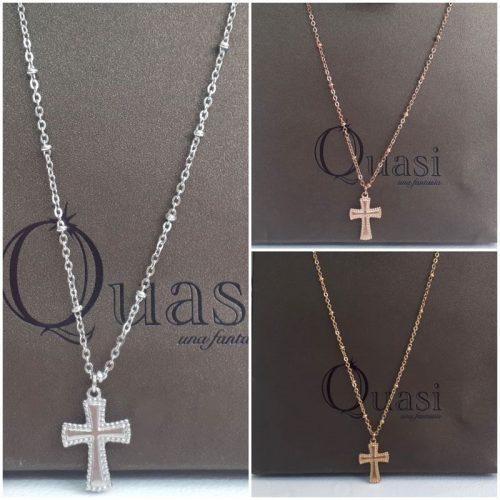 Gargantilla de acero en forma de cruz